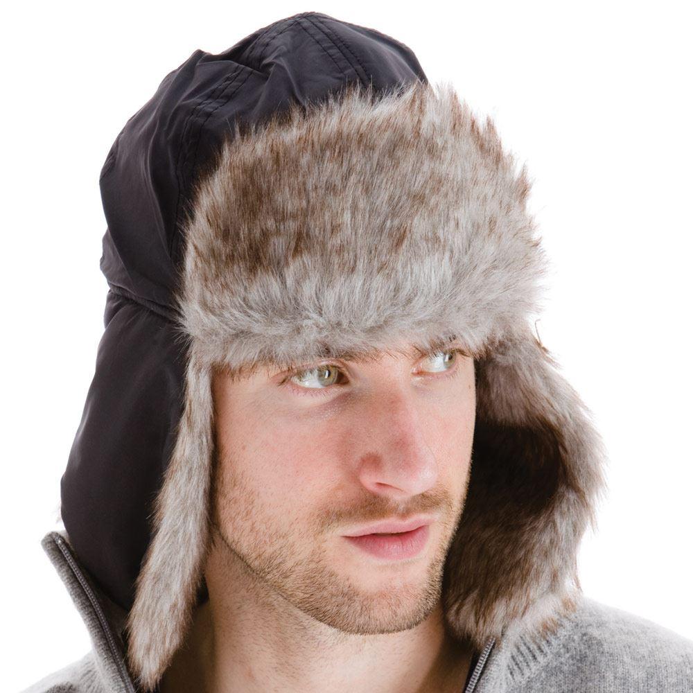 Men-039-s-Extra-Chaud-Chapeau-de-trappeur-doublure-en-fourrure-synthetique-rabats-chin-strap-noir-ou