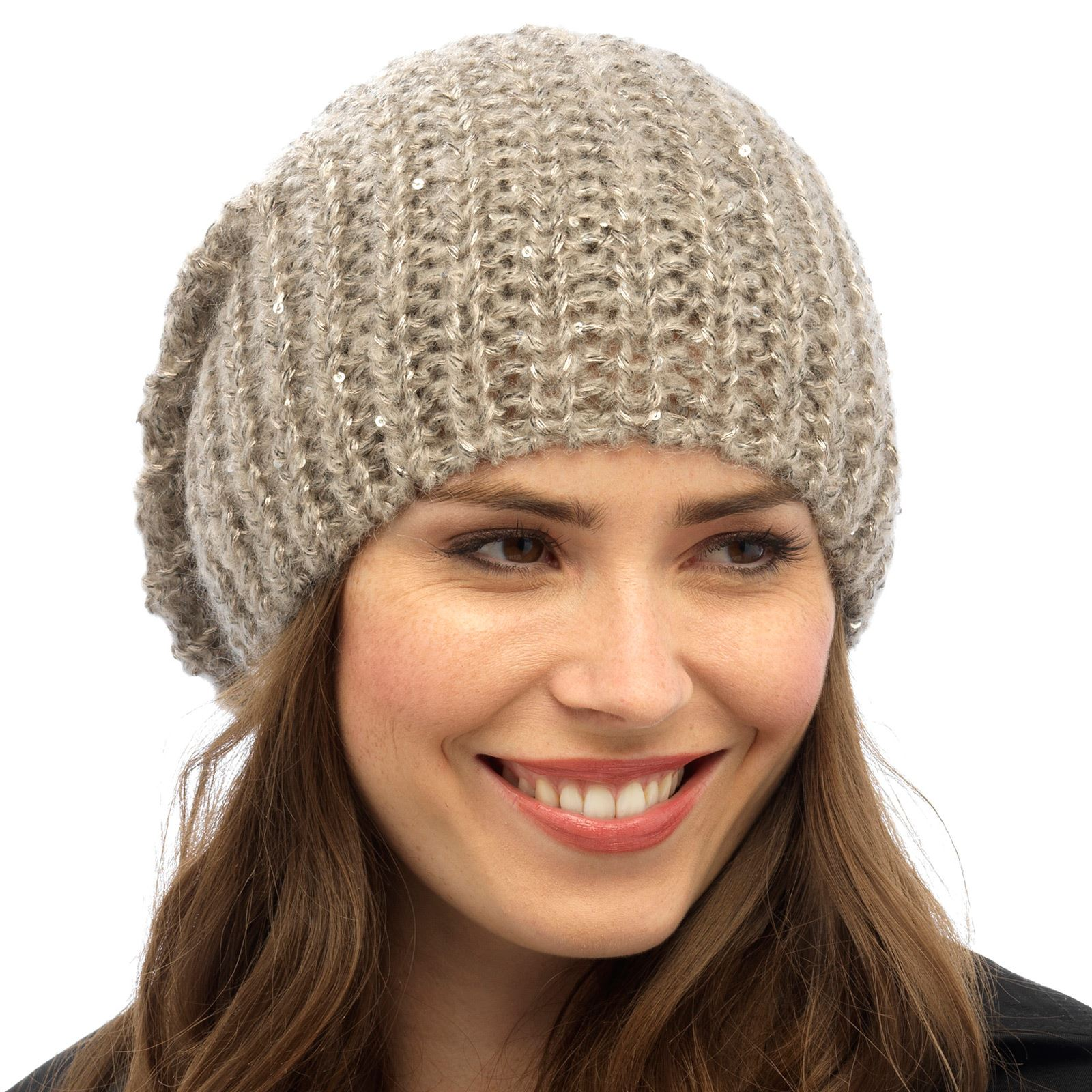 b9f2fb5207ca15 Details about Ladies Chunky Rib Knit Sequin Slouch Womens Warm Beanie Hat  Grey Blue Lavender