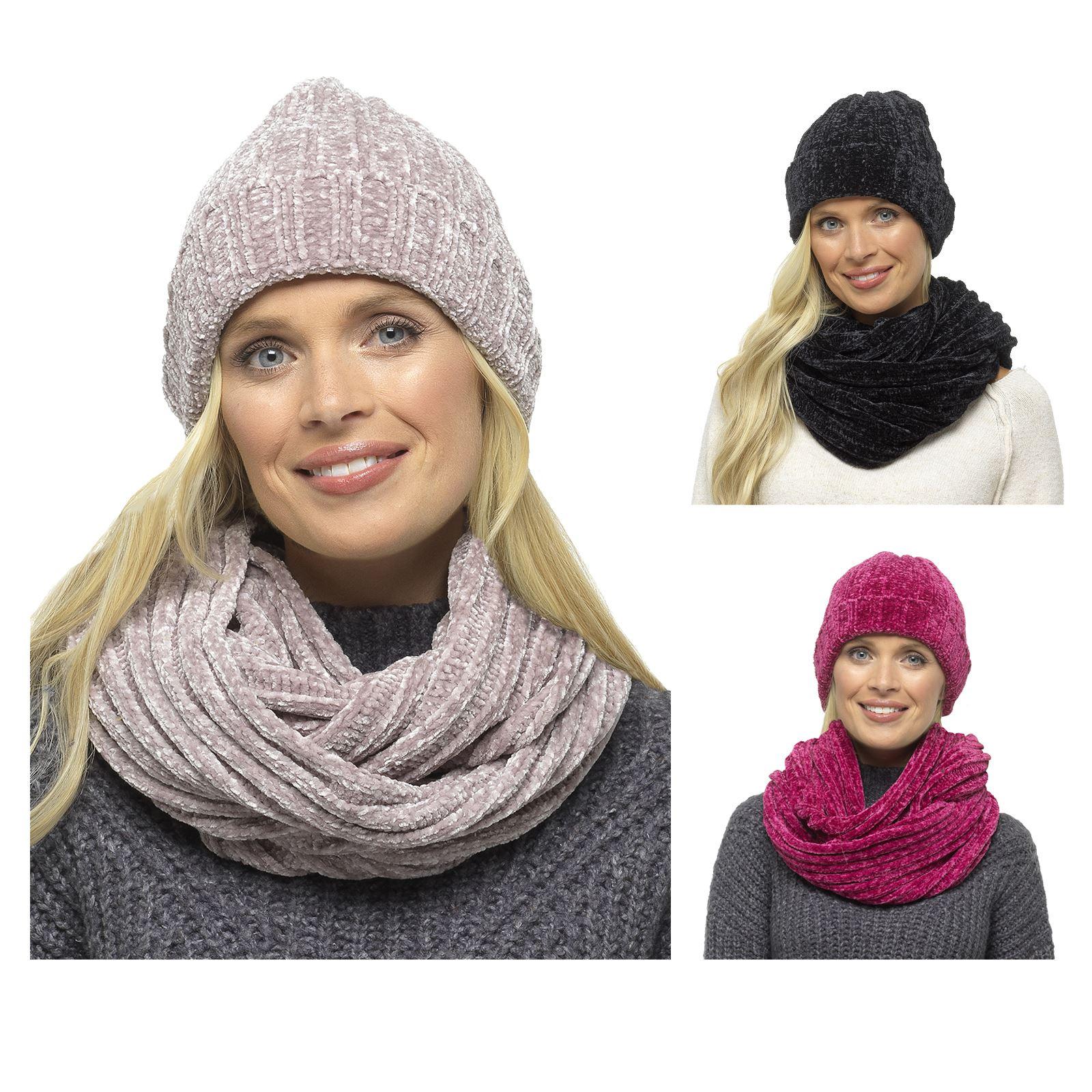 12959f5db90 Details about Foxbury Ladies Hat   Snood Set Chenille Rib Scarf Beanie Soft  Warm Winter