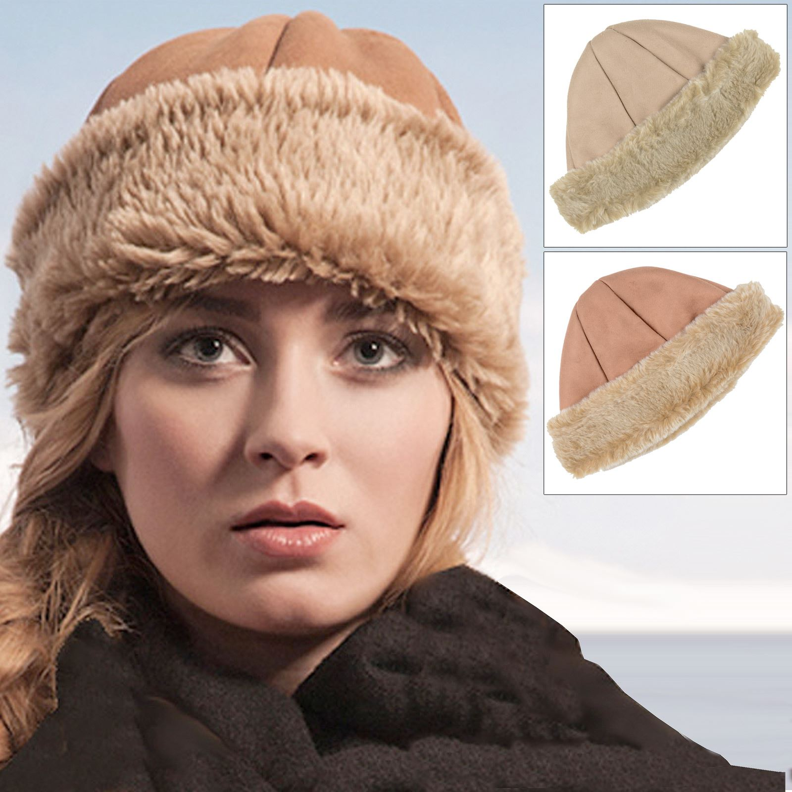 Details about New Pia Rossini Ladies Cossack Hat Faux Sheepskin   Suede    Fur Camel Or Tan 2589d1c1190