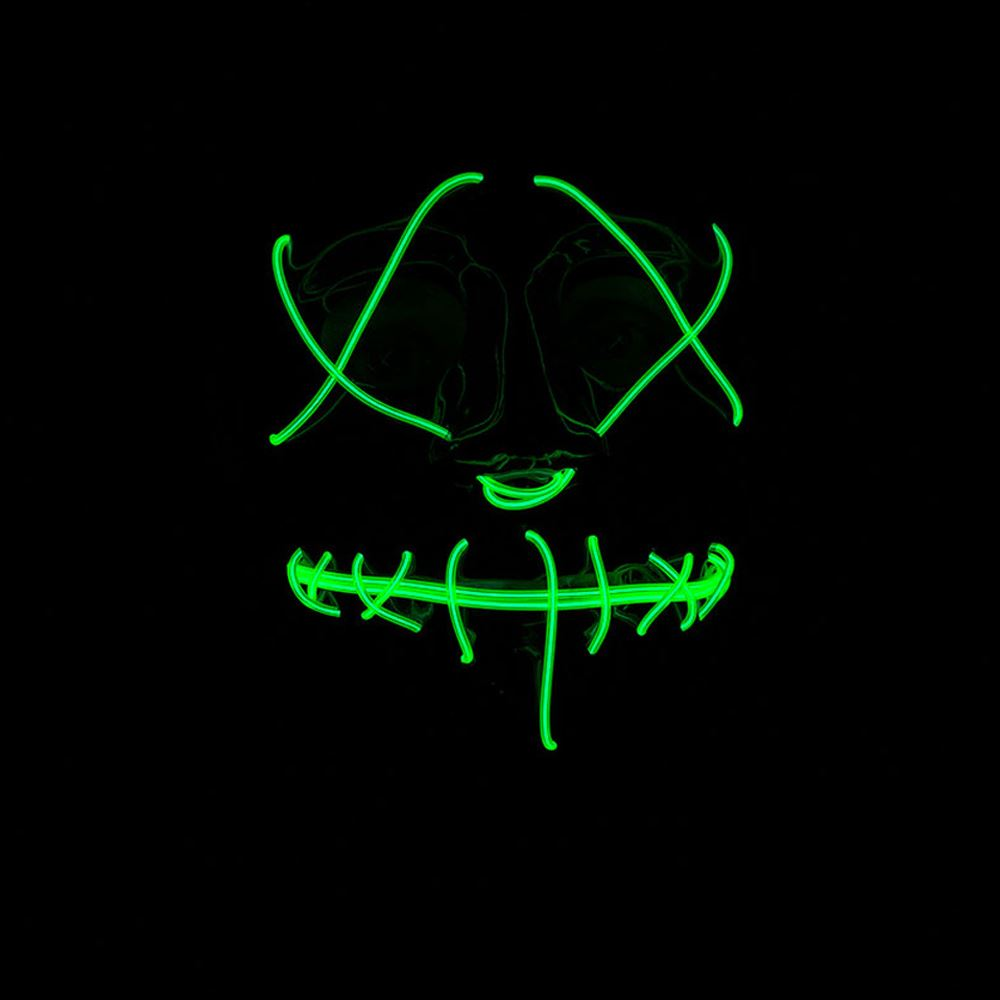 Adults-Neon-Light-Up-Mask-LED-EL-Wire-Purge-Halloween-Festival-Fancy-Dress thumbnail 5