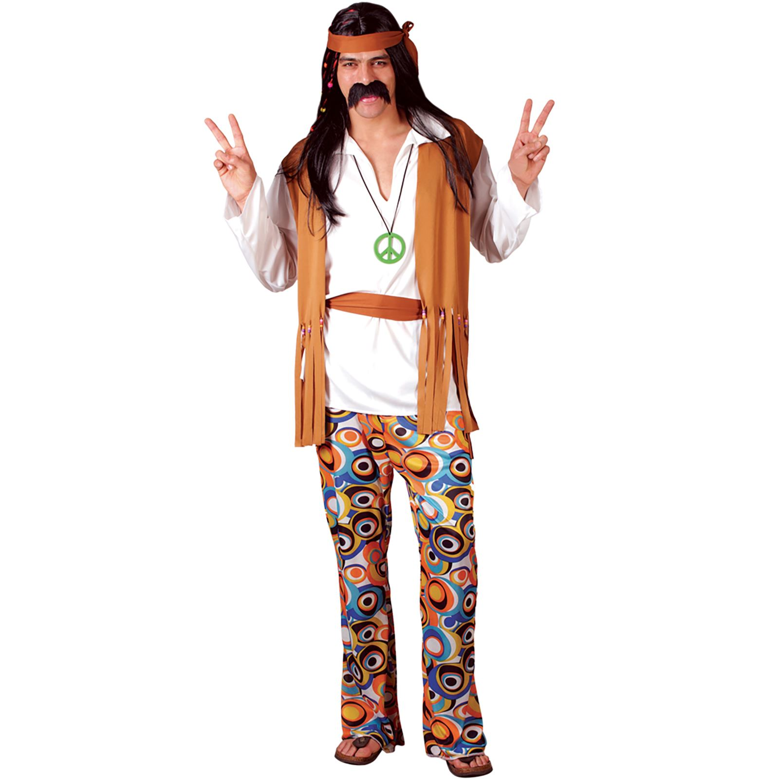 mens groovy 60s woodstock hippie hippy fancy dress up party