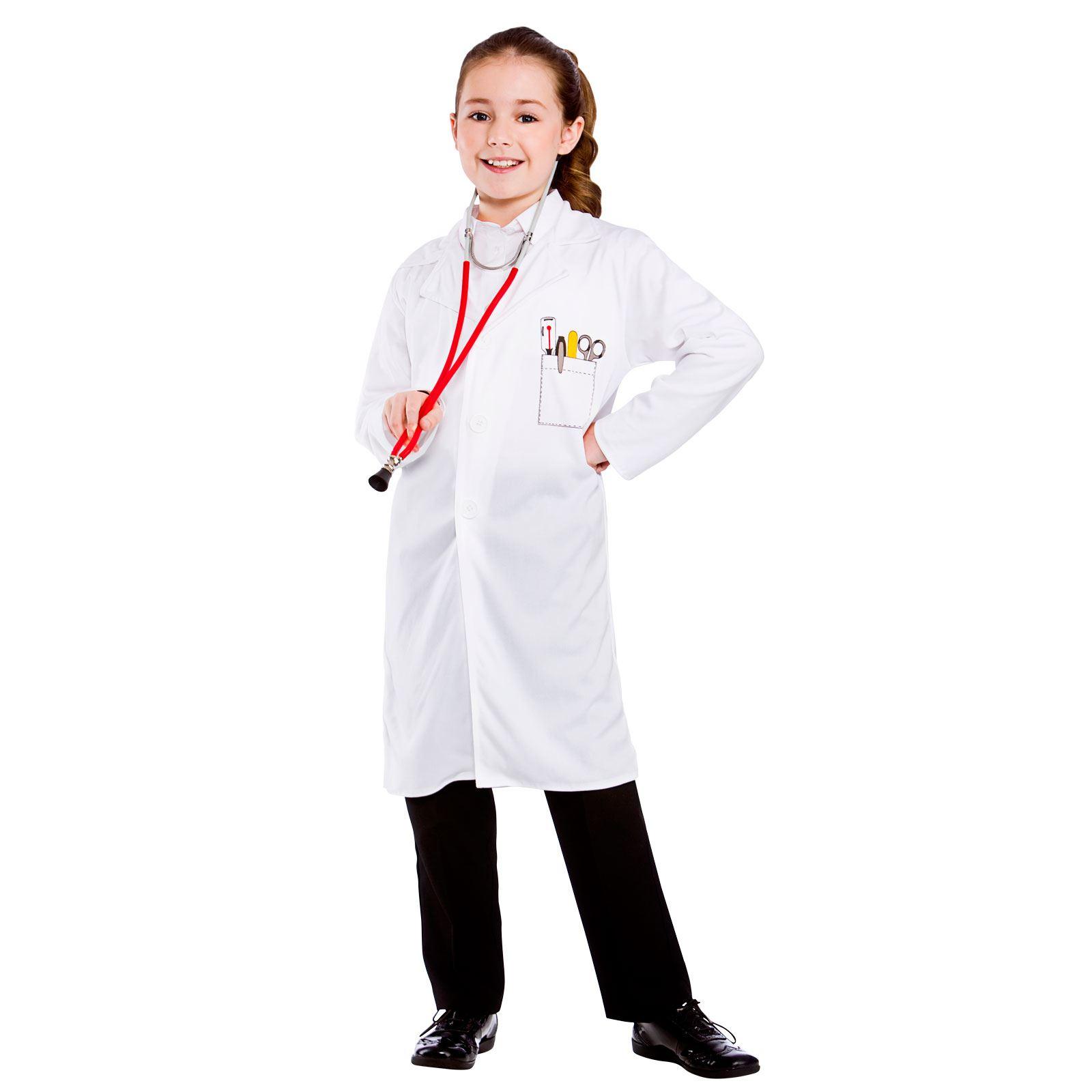 26c71d85d19db Childrens Unisex White Doctors Coat Fancy Dress Up Party Costume Outfit New
