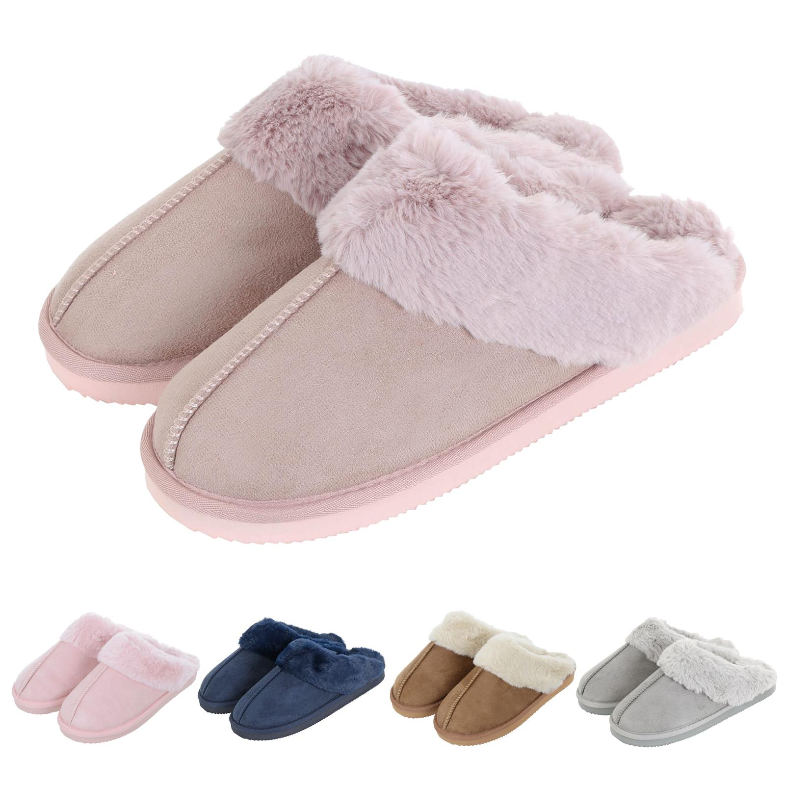 Autumn Faith Ladies Slippers Luxury Womens Microsuede Mules Fleece Lining Non-Slip Sole
