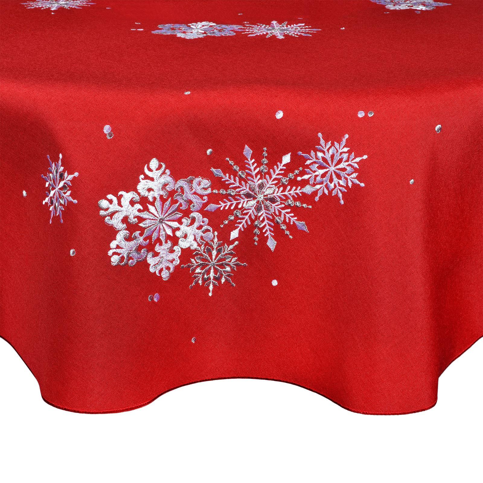 Christmas-Tablecloth-Festive-Pattern-Rectangle-Round-Fabric-Xmas-Room-Decoration Indexbild 40