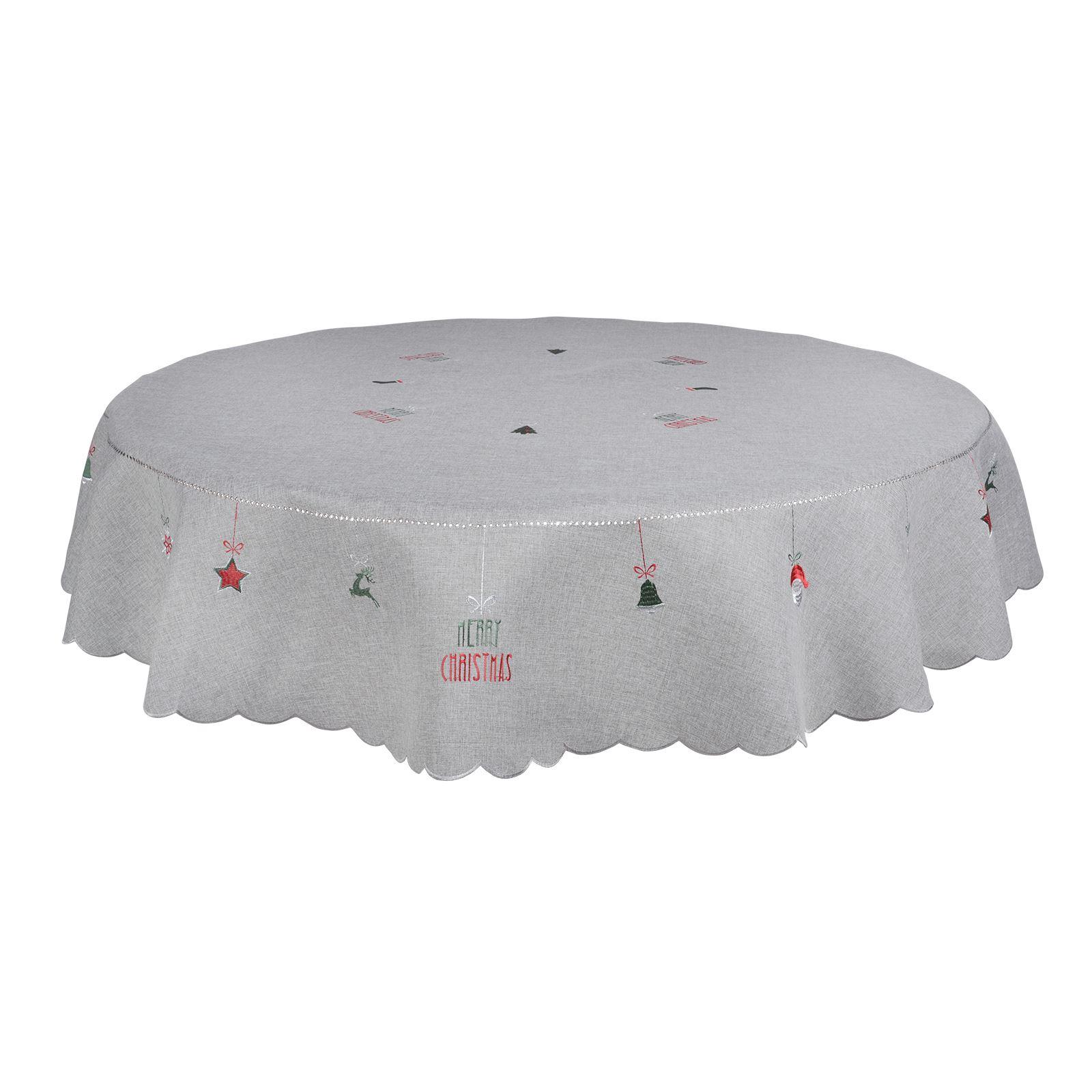 Christmas-Tablecloth-Festive-Pattern-Rectangle-Round-Fabric-Xmas-Room-Decoration Indexbild 113