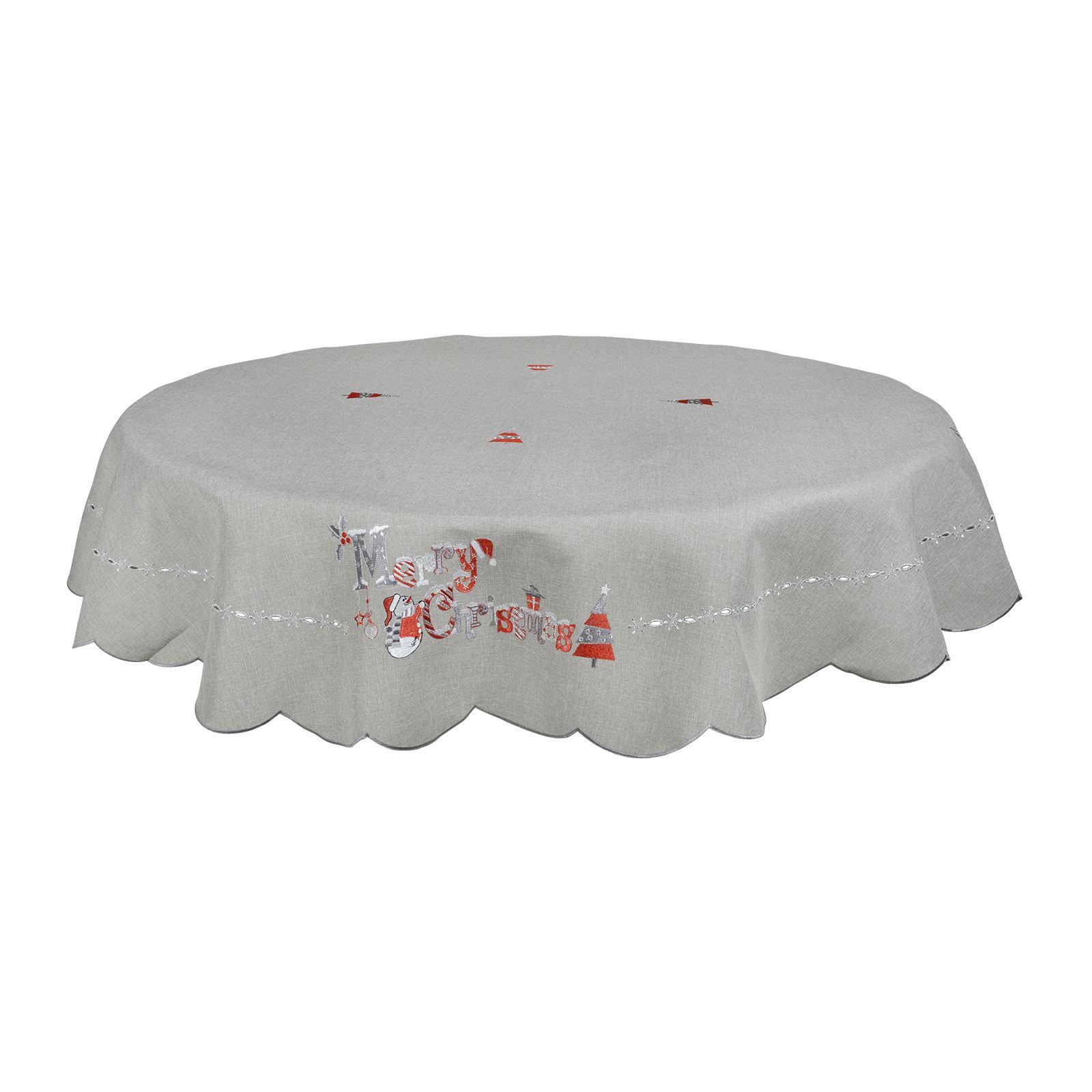 Christmas-Tablecloth-Festive-Pattern-Rectangle-Round-Fabric-Xmas-Room-Decoration Indexbild 119