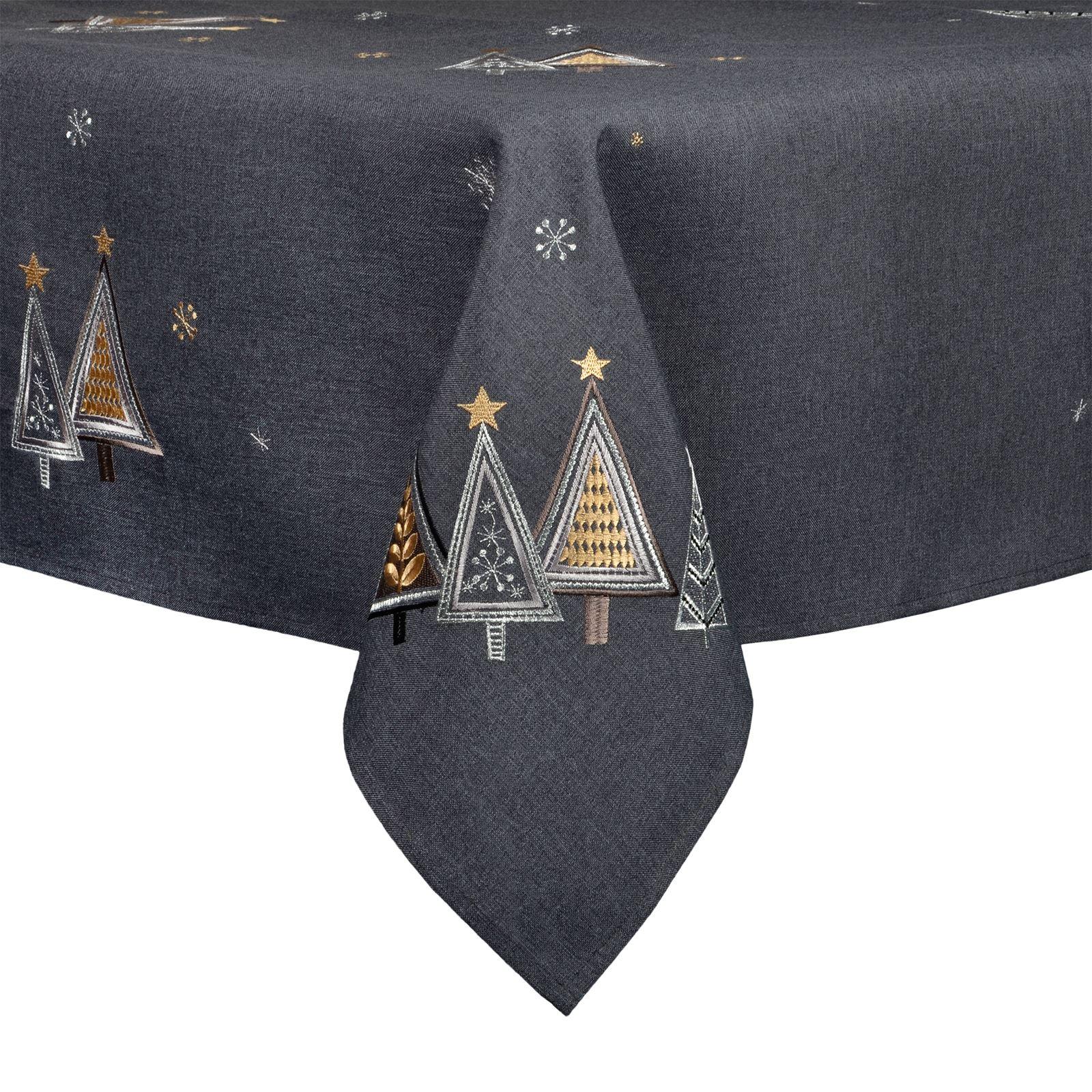 Christmas-Tablecloth-Festive-Pattern-Rectangle-Round-Fabric-Xmas-Room-Decoration Indexbild 16
