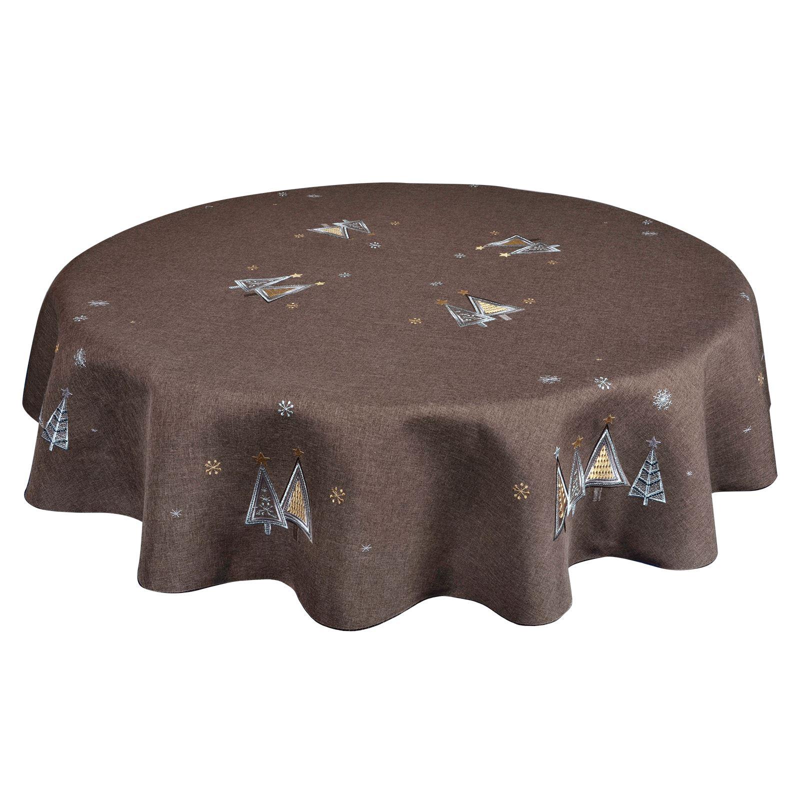 Christmas-Tablecloth-Festive-Pattern-Rectangle-Round-Fabric-Xmas-Room-Decoration Indexbild 26