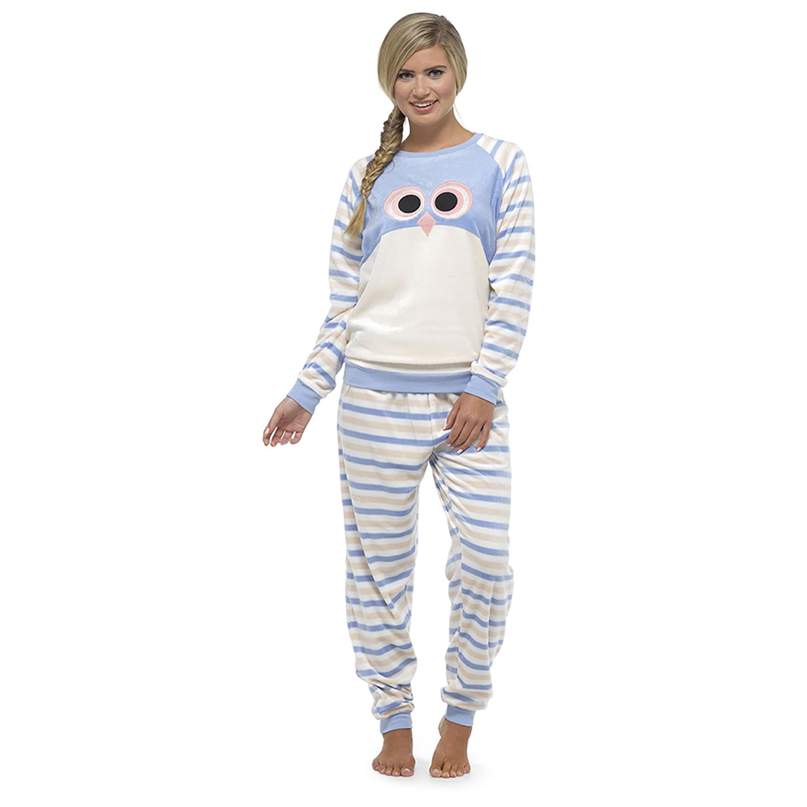 Foxbury Womens Animal Twosie Pyjama Set Top Bottoms Cosy Fleece Gift Pink//Blue