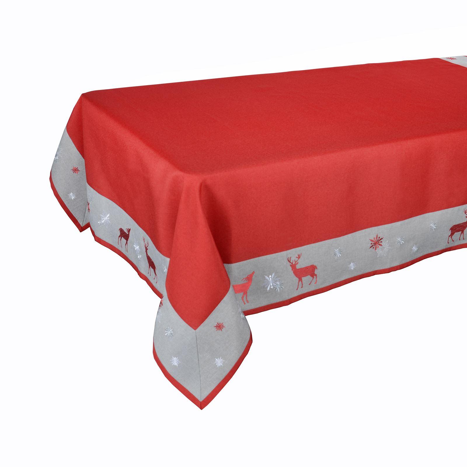 Christmas-Tablecloth-Festive-Pattern-Rectangle-Round-Fabric-Xmas-Room-Decoration Indexbild 62