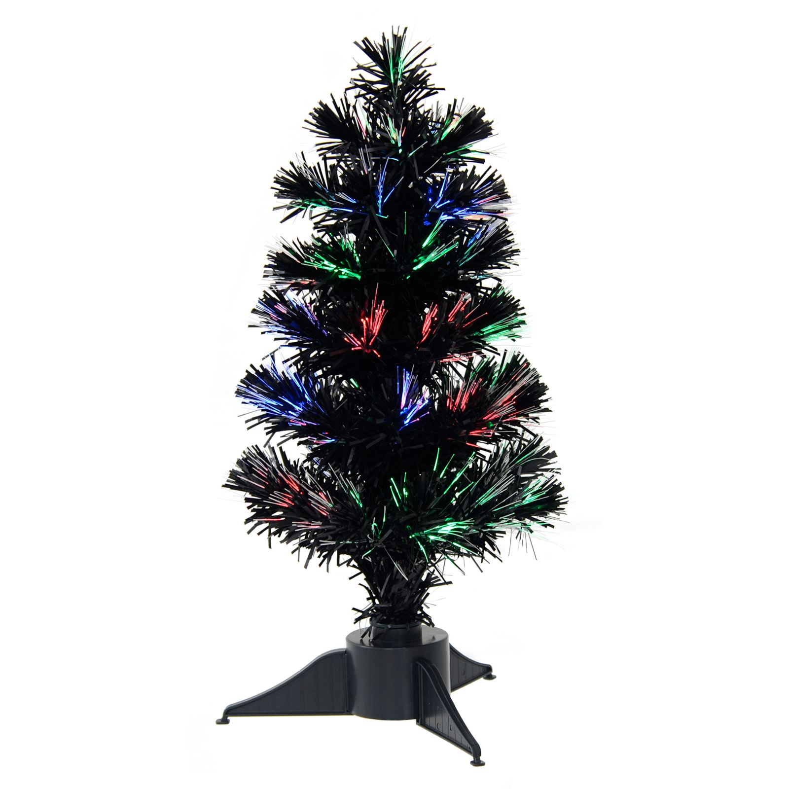 Details About 45cm Mini Desktop Black Fibre Optic Xmas Christmas Tree Usb Battery Powered
