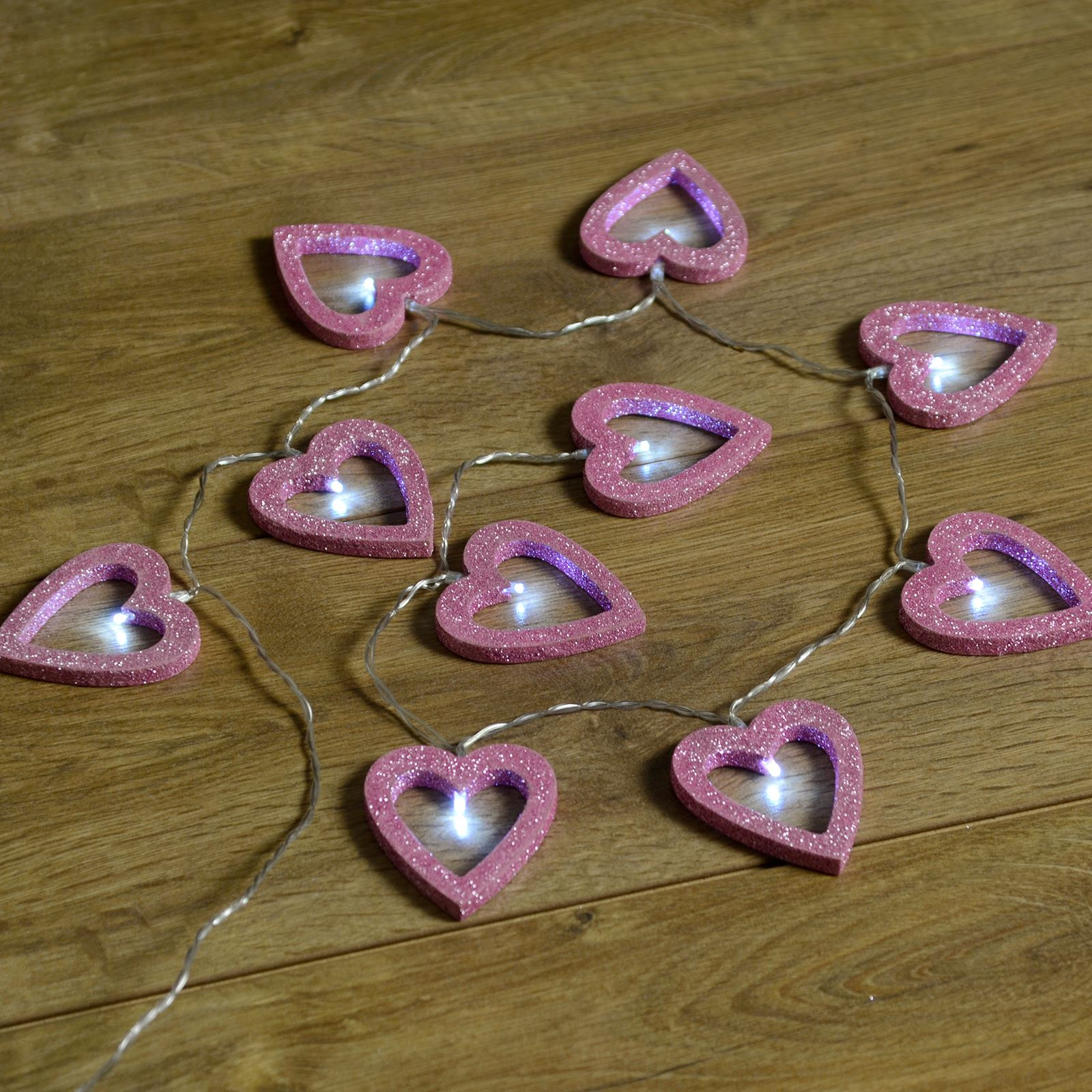 on sale e9874 87dfc Details about Set Of 10 Wooden Pink Glitter Heart Shaped Fairy String  Lights Bright White LEDs