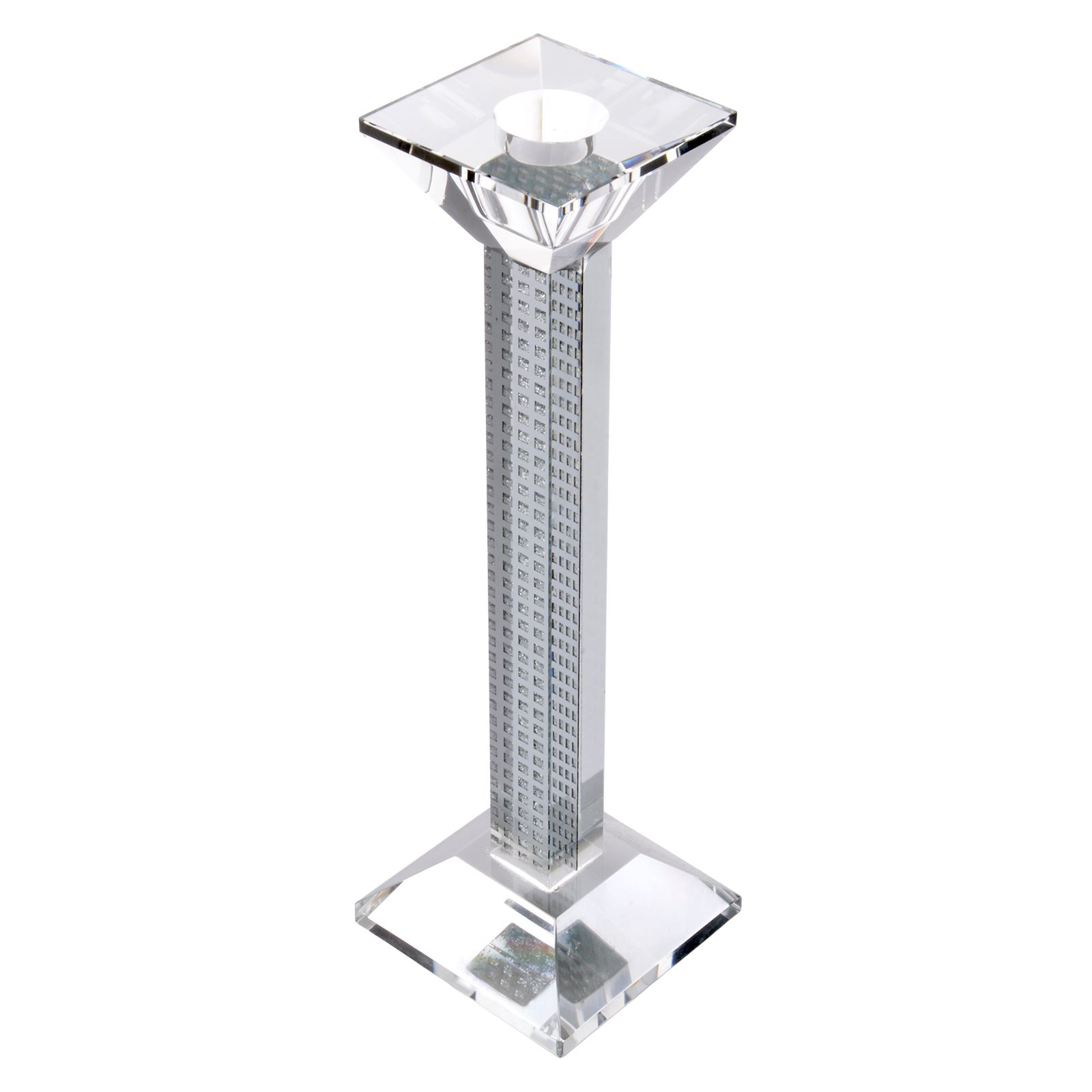 mirrored glass square pillar candle holder candlestick