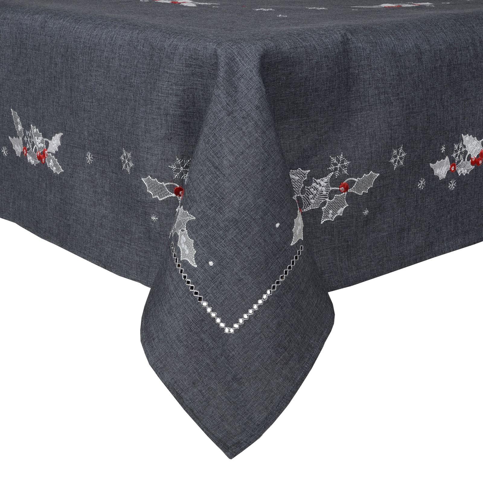 Christmas-Tablecloth-Festive-Pattern-Rectangle-Round-Fabric-Xmas-Room-Decoration Indexbild 93