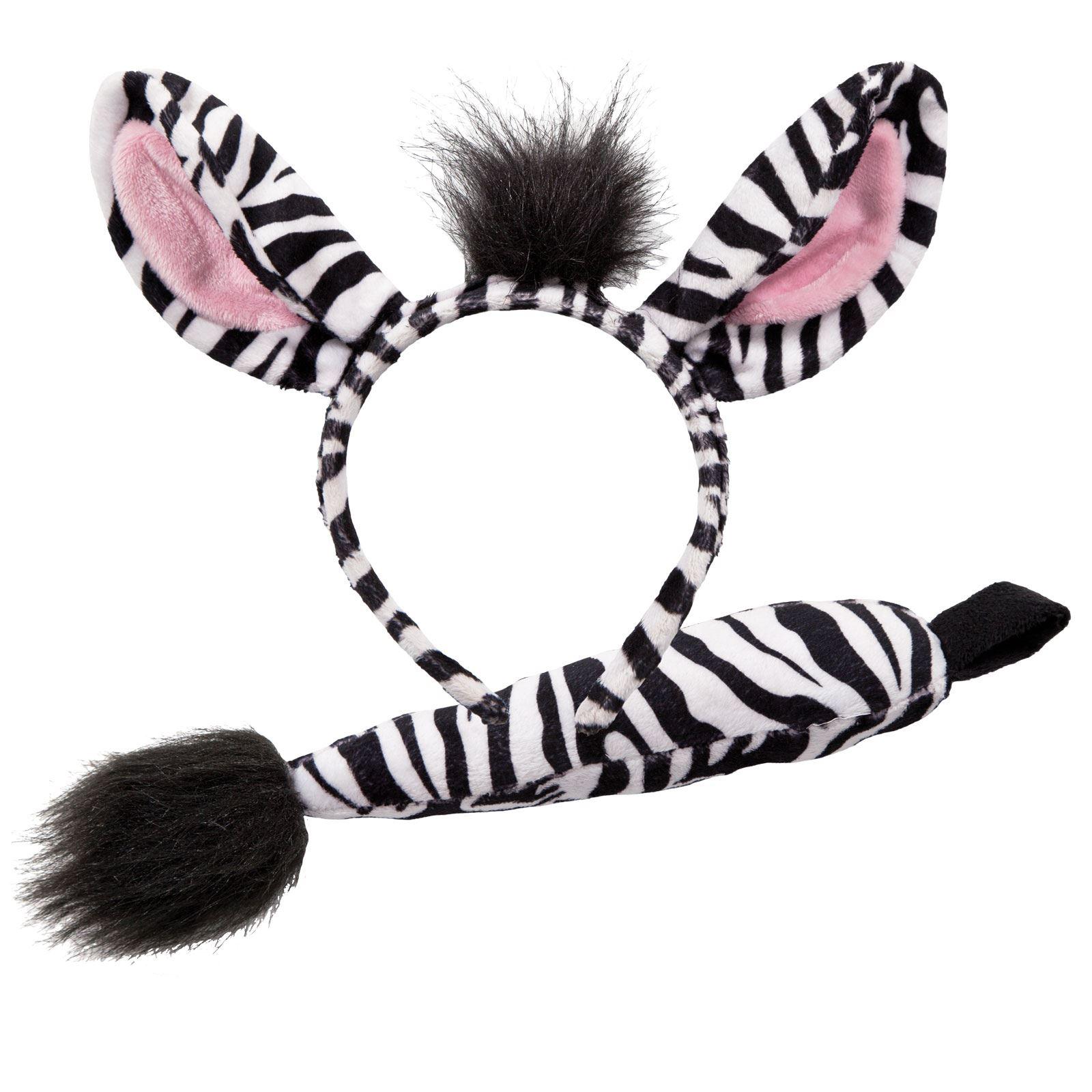 adults animal ears headband & tail set fancy dress party halloween