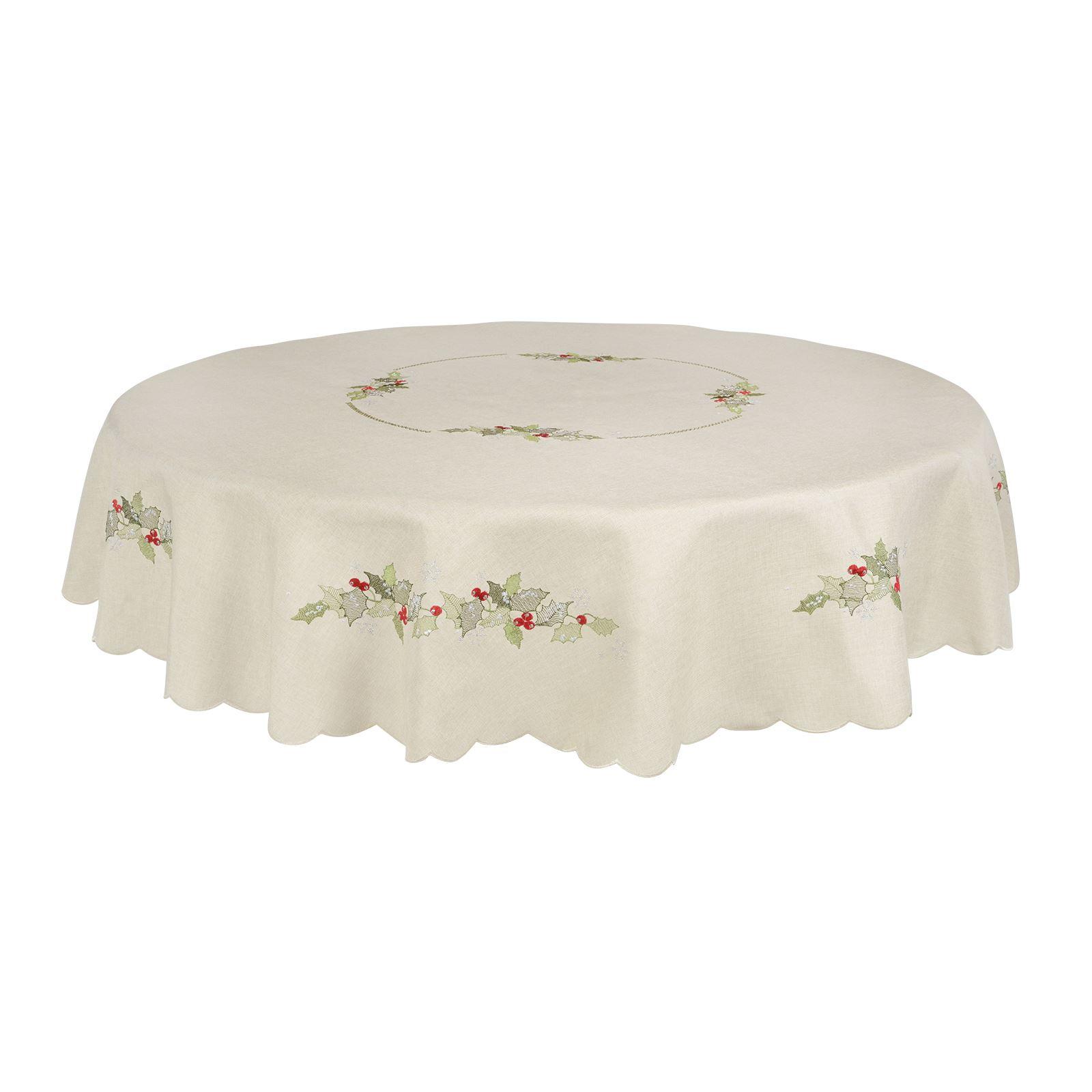 Christmas-Tablecloth-Festive-Pattern-Rectangle-Round-Fabric-Xmas-Room-Decoration Indexbild 83
