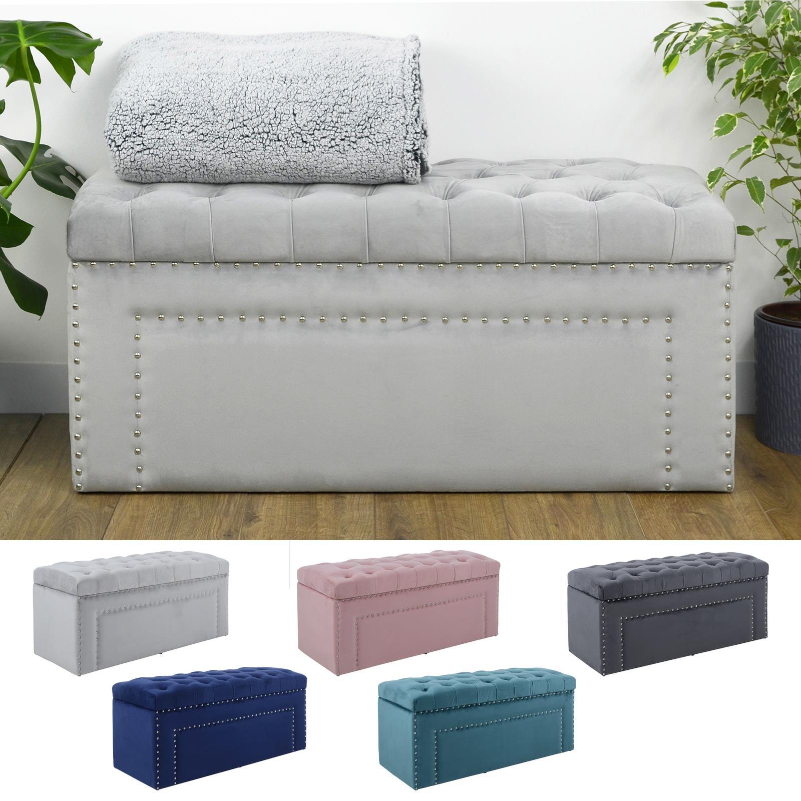Hodge and Hodge Large Storage Ottoman Padded Velvet Seat Bench Blanket Box Silver Studs Dark grey