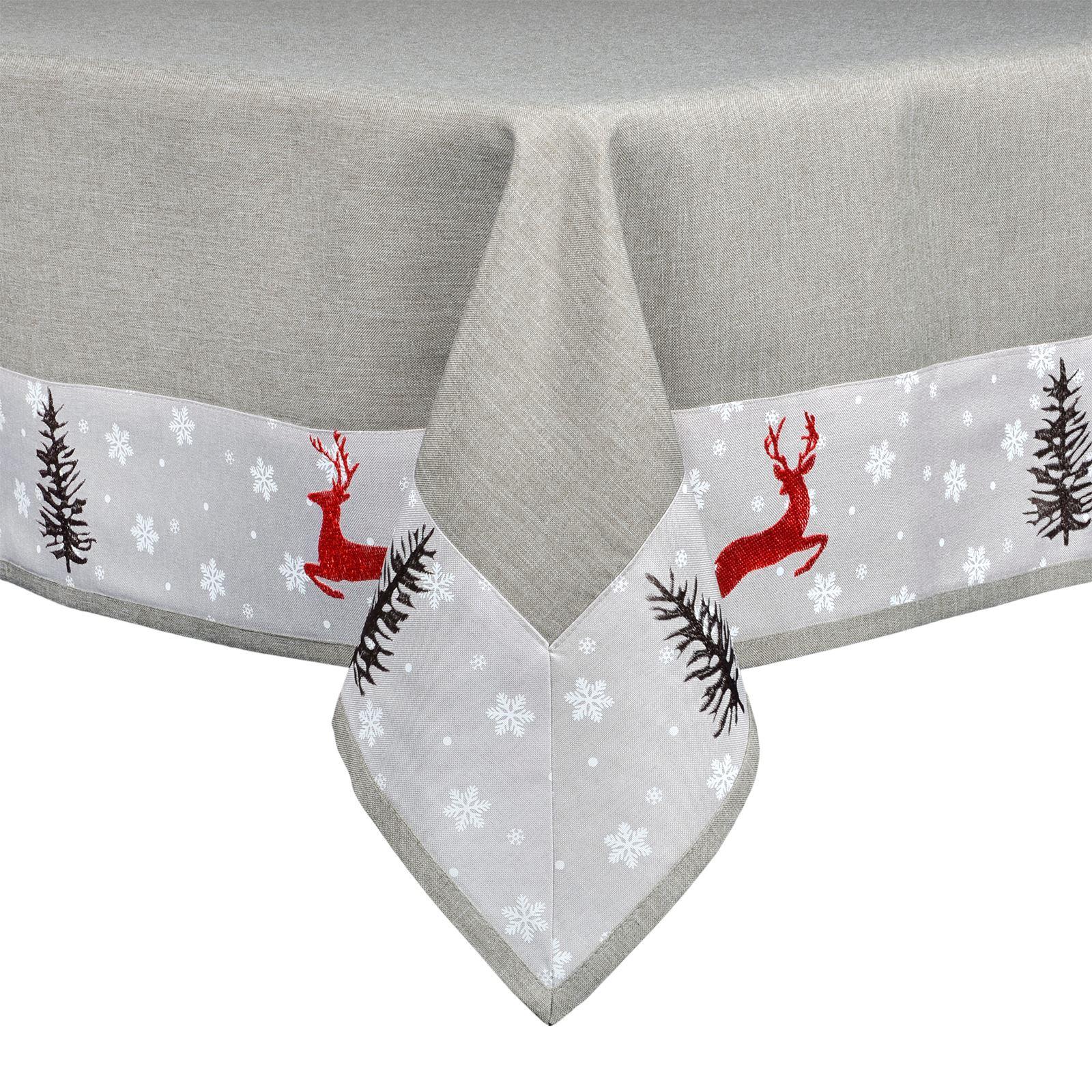 Christmas-Tablecloth-Festive-Pattern-Rectangle-Round-Fabric-Xmas-Room-Decoration Indexbild 43