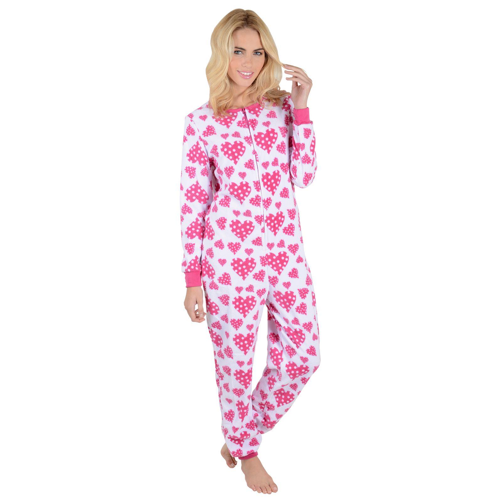New Ladies Fleece All In One Piece Pyjamas Jump Sleep Suit PJs ... bb79b3595