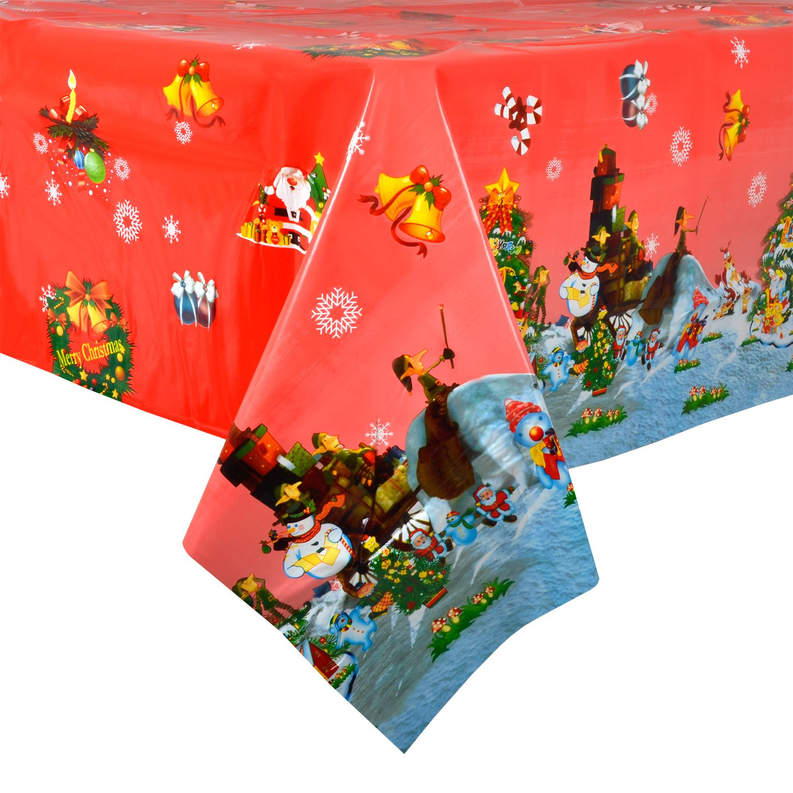 Red Xmas Tree Wipe Clean Pvc Vinyl Tablecloth Table Cover Protector