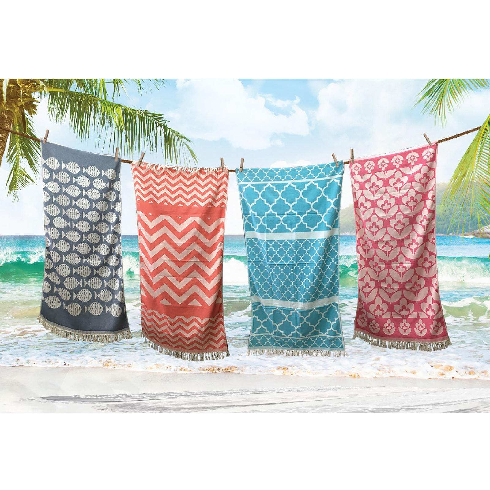 Absorbent-Woven-Hammam-Beach-Towel-100-Egyptian-Cotton-Quick-Drying-85x160cm thumbnail 3