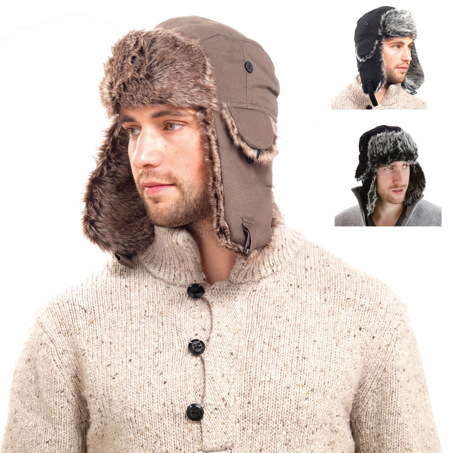 7485da4bbff Details about Men's Extra Warm Trapper Hat Faux Fur Lining Ear Flaps Chin  Strap Black or Brown