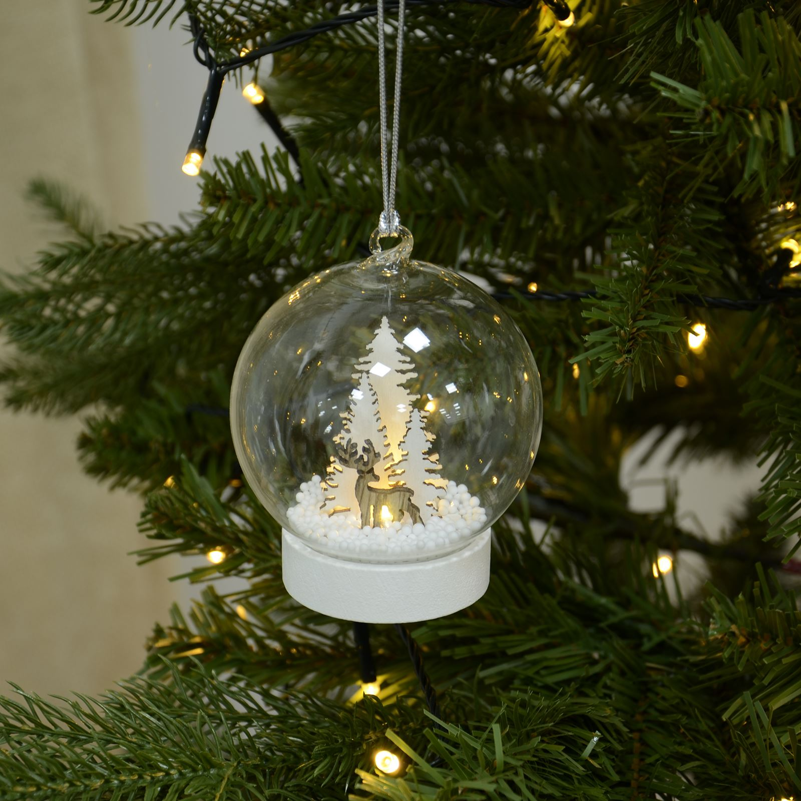 Christmas Tree With Baubles: Glass Christmas Tree Light Up Baubles Reindeer & Trees