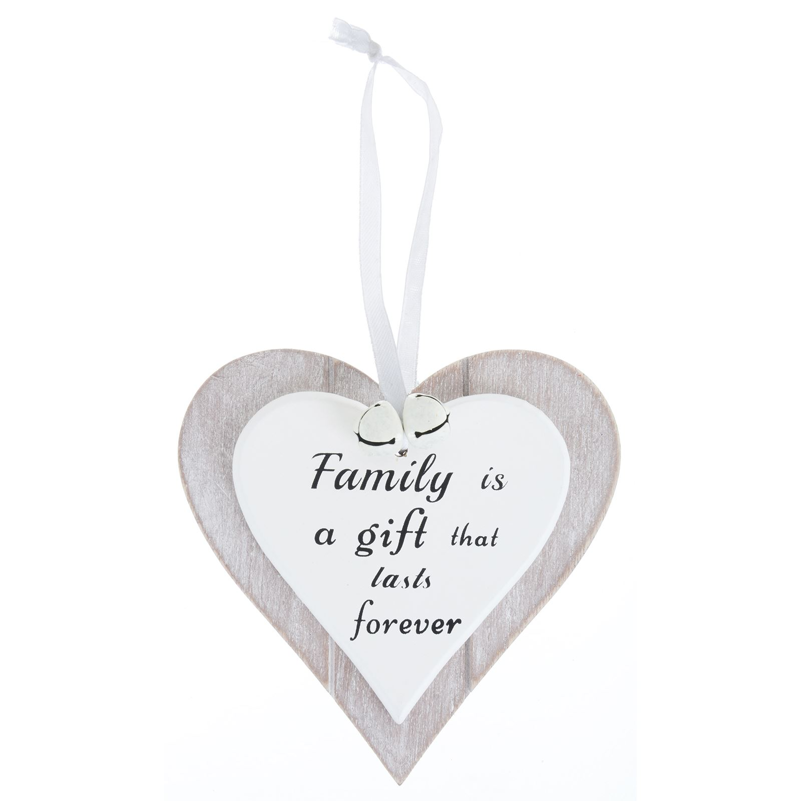 Inspirational Quote Grey Wooden Heart Christmas Hanging Decoration ...
