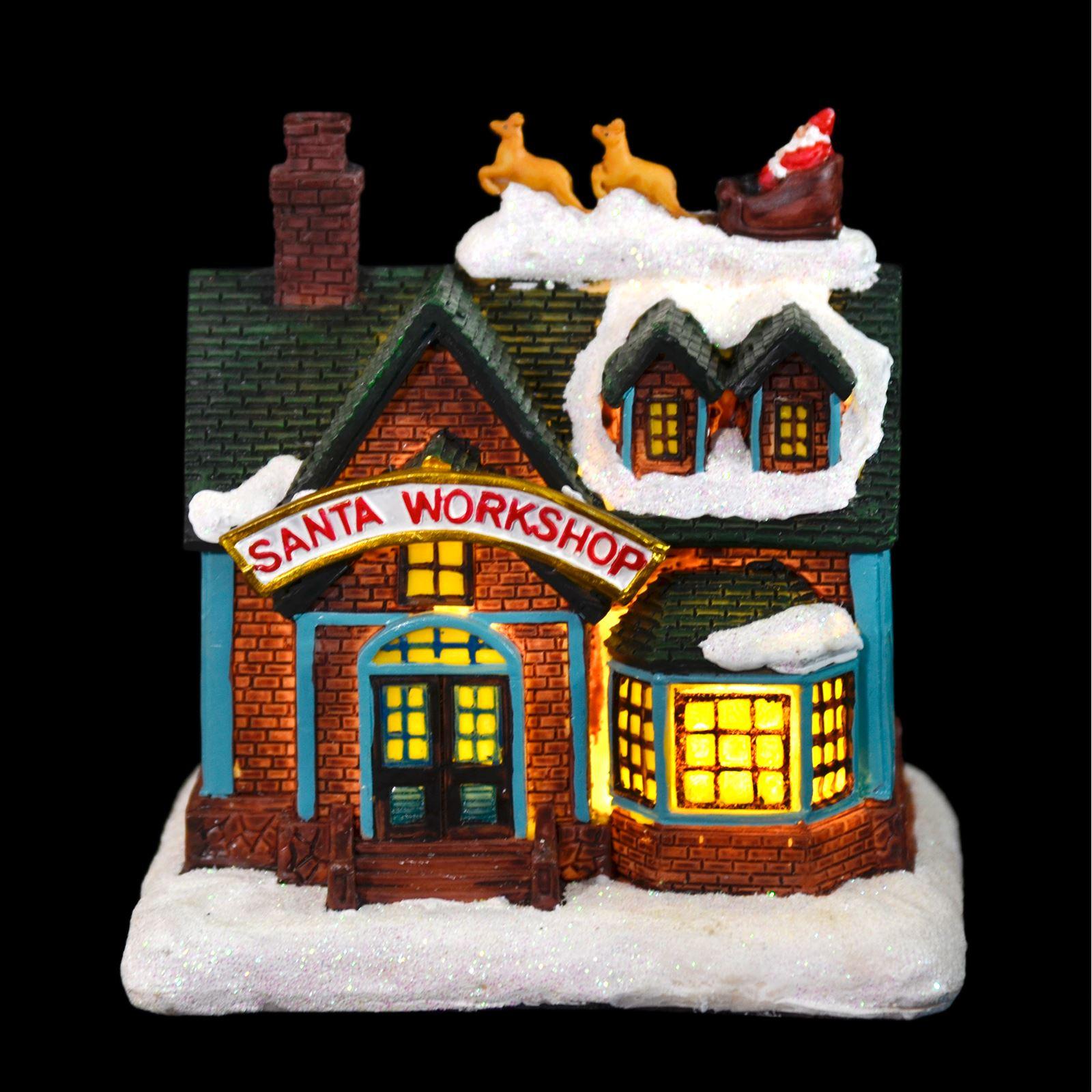 Resin Santas Workshop Light Up Room Decoration Christmas