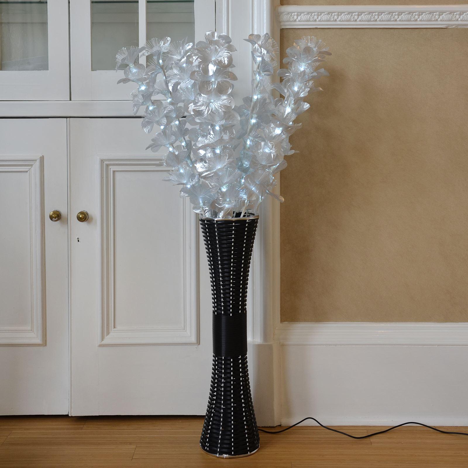 Fibre Optic Rattan Lamp Floor Standing Flower Light Wicker Style Base 1m Tall Ebay