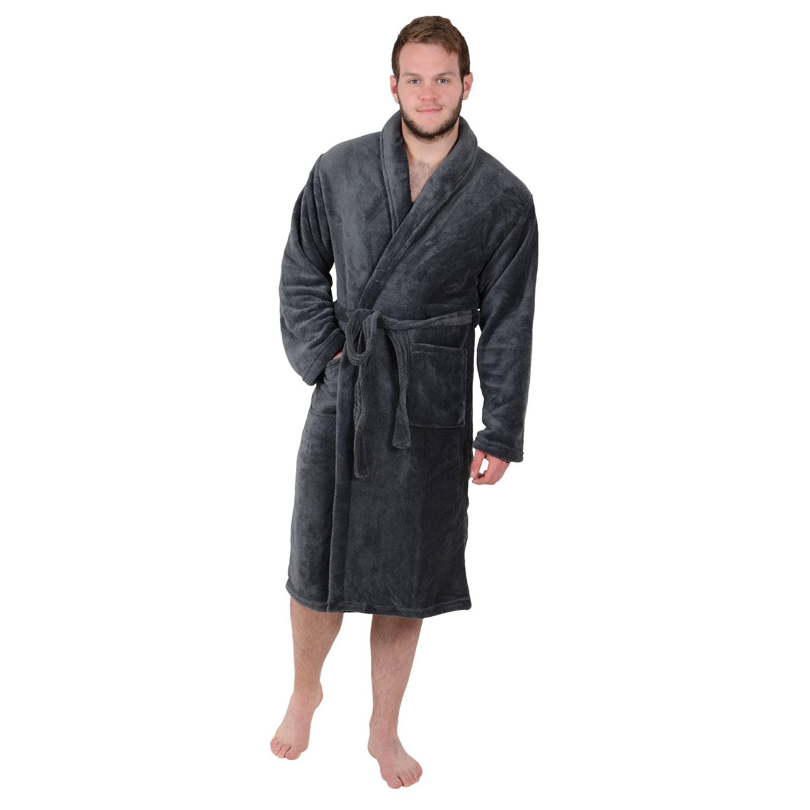 Men S Dressing Gowns Uk: Mens Luxury Coral Fleece Bath Robe Tie Belt Dressing Gown