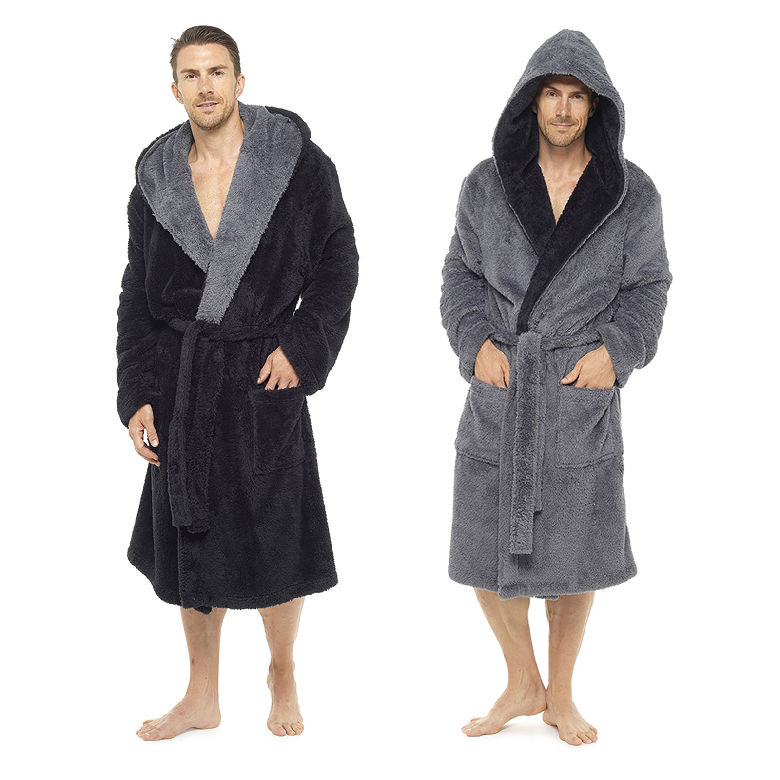 Foxbury Mens Hooded Bathrobe Soft Shaggy Fleece Dressing Gown Warm ... 51ce1f596