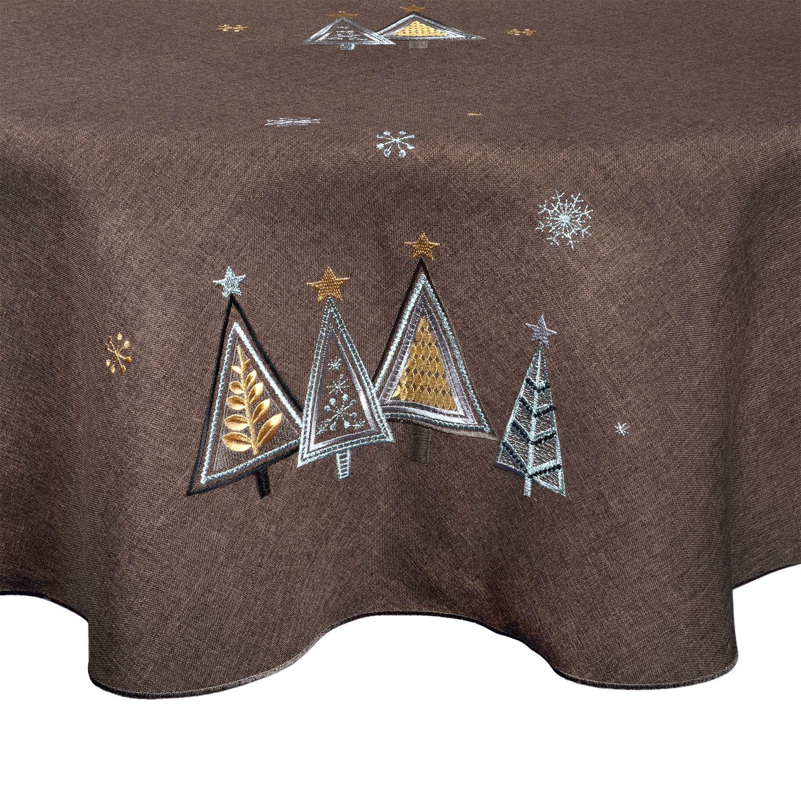 Christmas-Tablecloth-Festive-Pattern-Rectangle-Round-Fabric-Xmas-Room-Decoration Indexbild 27
