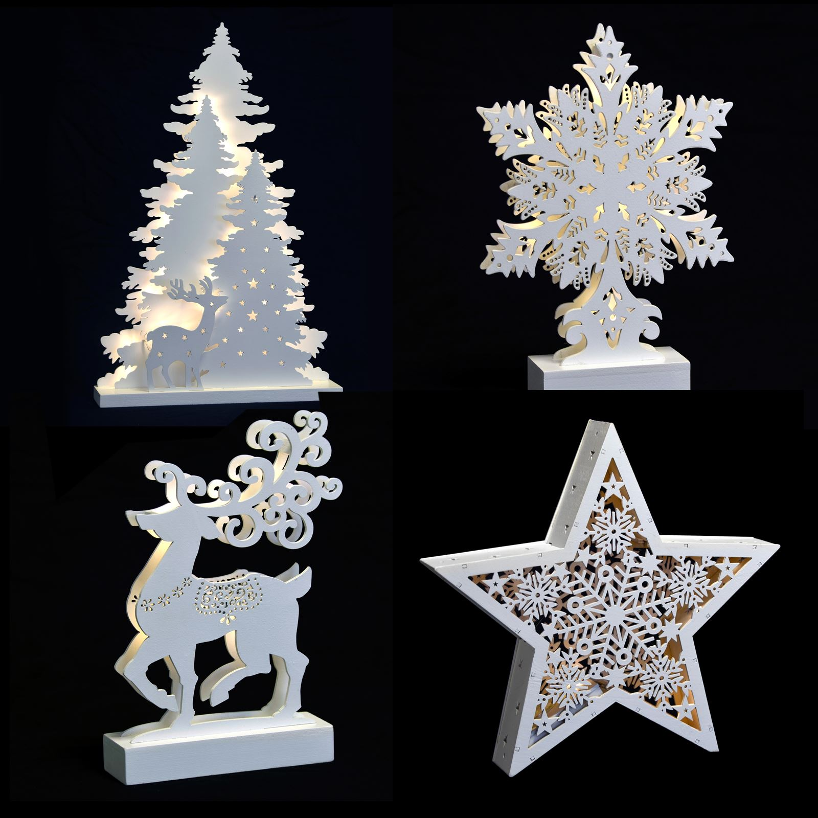 New Christmas White Light Up Decoration Reindeer Trees ...