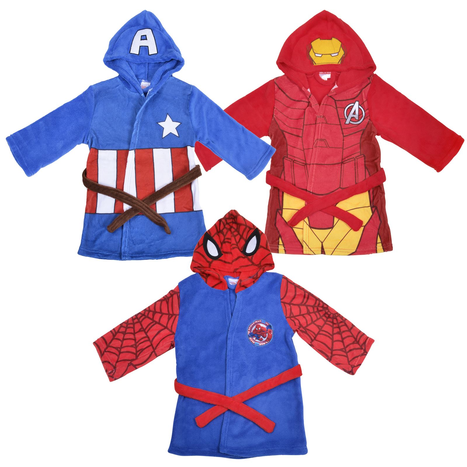 2a09b13e45 Details about Marvel Superheroes Fleece Hooded Dressing Gown Capt America  Spiderman Iron Man
