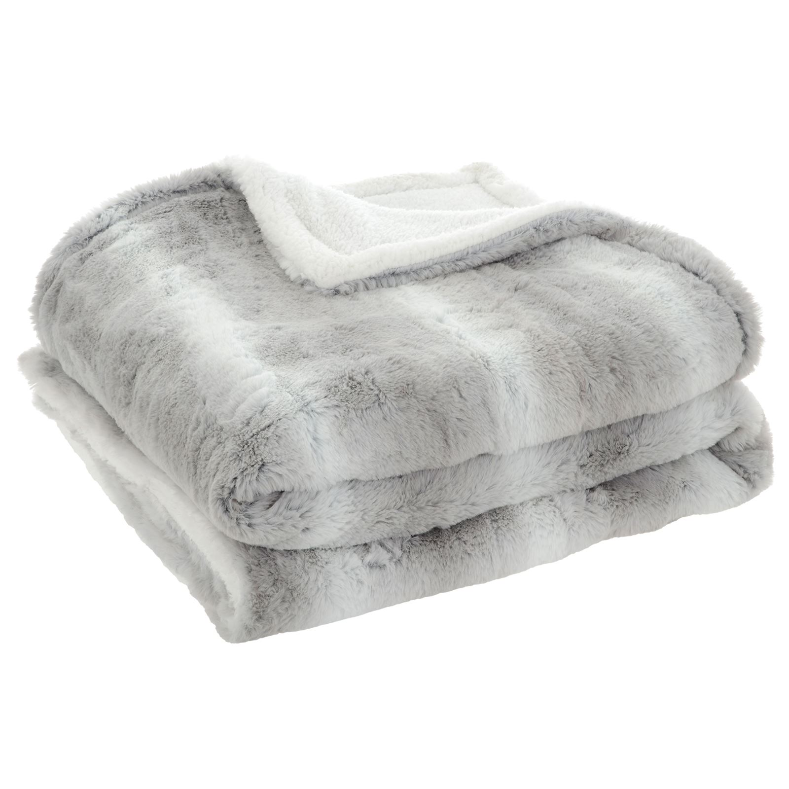 Details about Deluxe Double Layer Faux Fur Sherpa Fleece Blanket Home Sofa  Bed Throw (Grey)