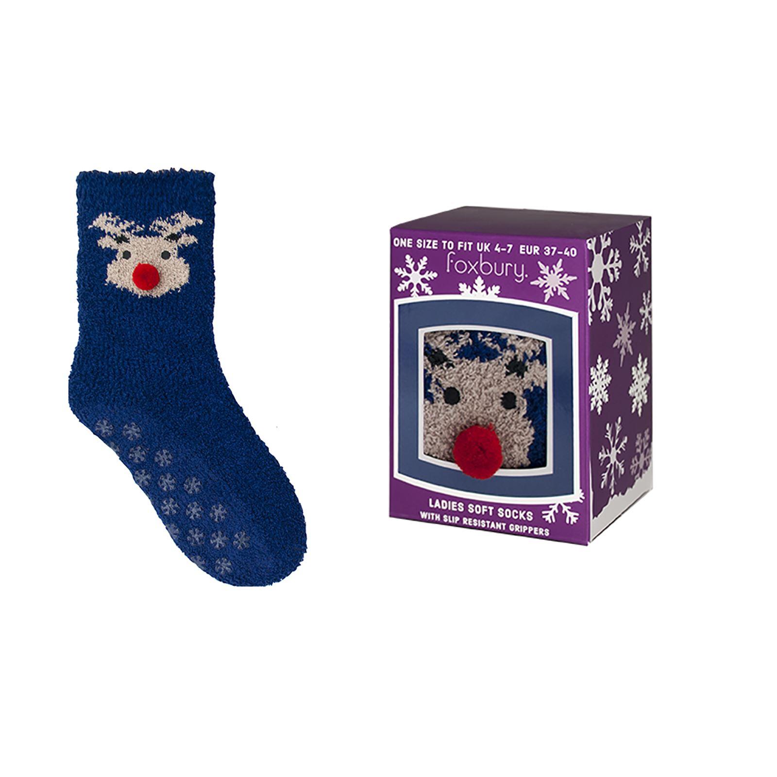 Womens Gift Boxed Non Slip Socks Cosy Fluffy Warm Gripper
