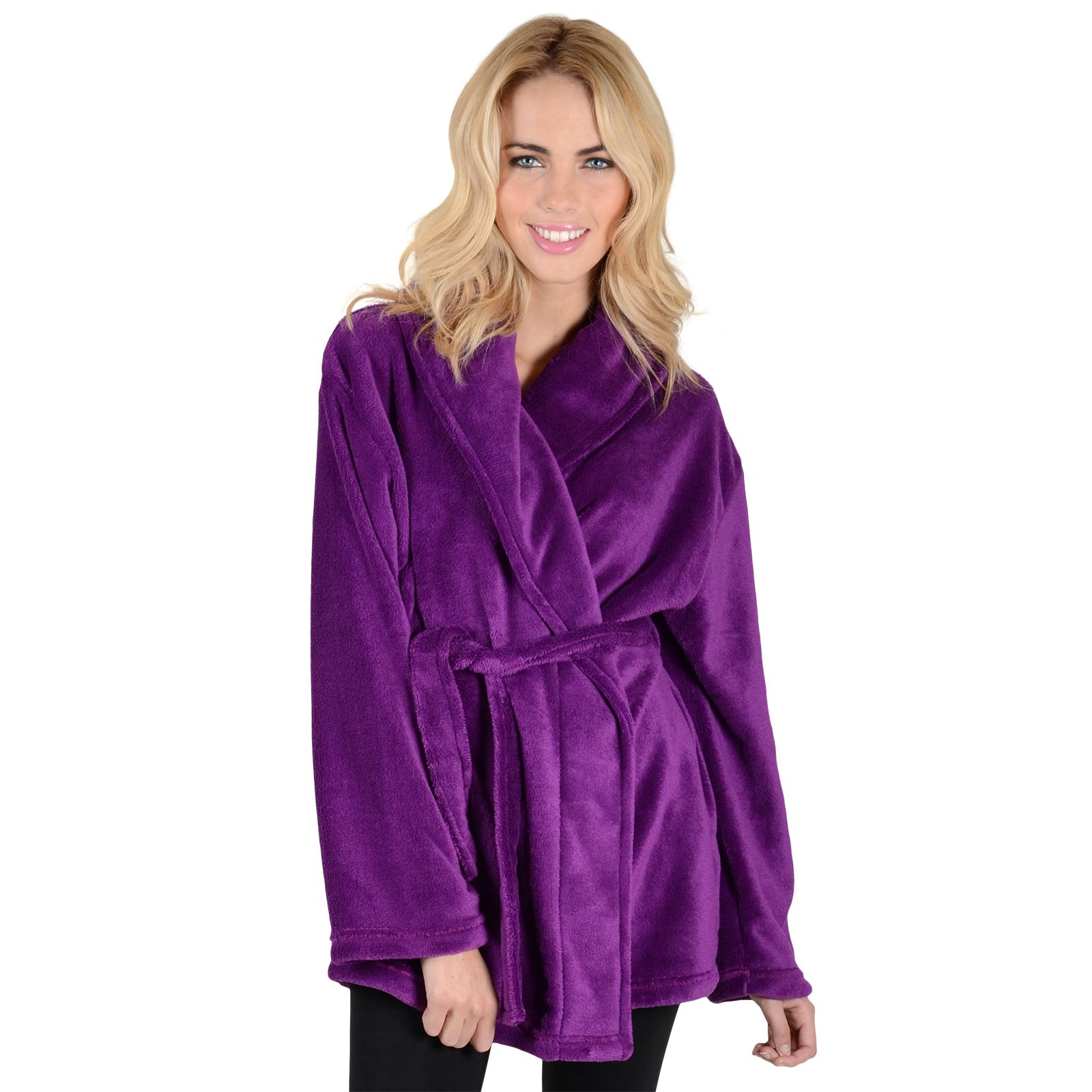 Womens Mini Bathrobe With Collar - Luxury Soft Fleece Dressing Gown ...