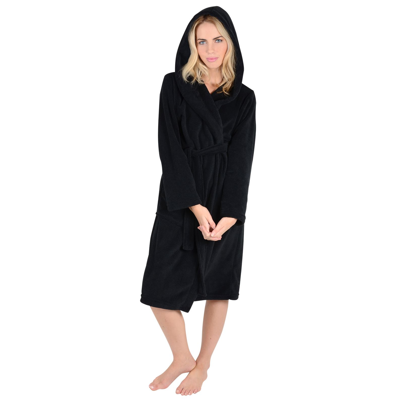 Womens Luxury Coral Fleece Hooded Bathrobe Dressing Gown With Belt ...