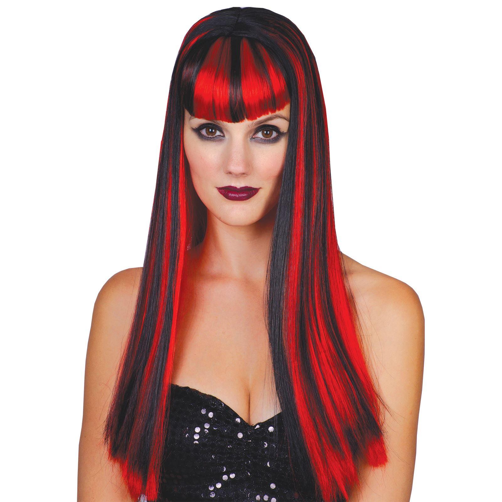 long black red vamp vampire vixen wicked halloween wig | ebay