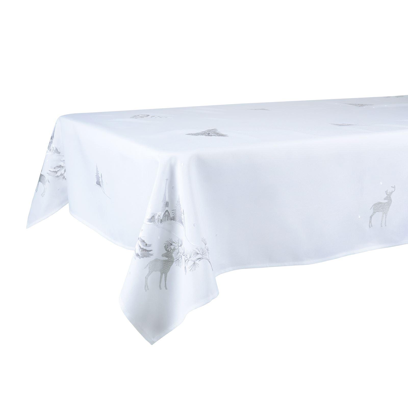 Christmas-Tablecloth-Festive-Pattern-Rectangle-Round-Fabric-Xmas-Room-Decoration Indexbild 56