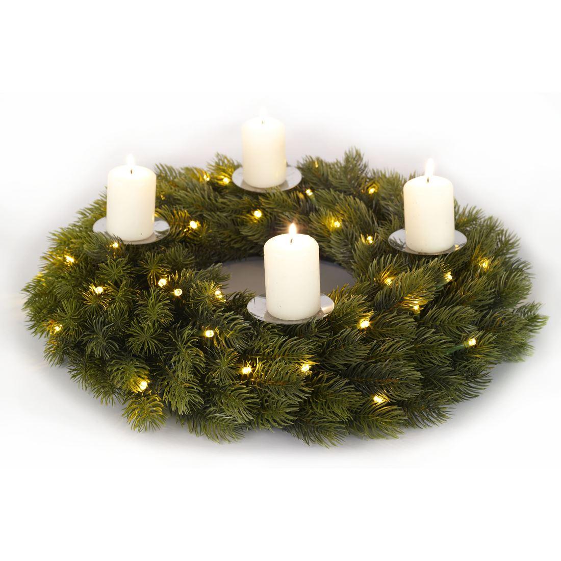 Luxury 40cm Pre Lit Christmas Advent Wreath Candle Holder Decoration