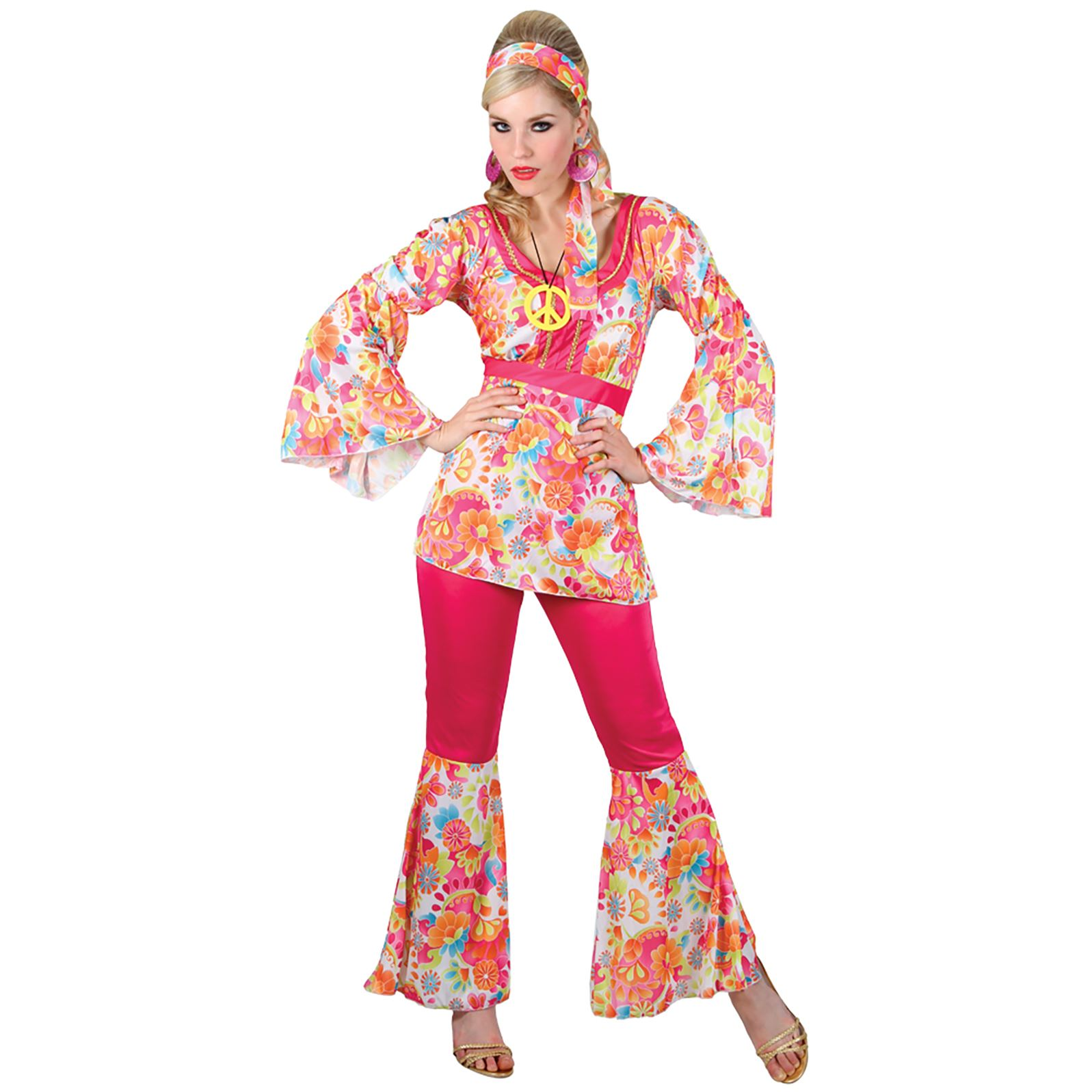 new ladies hippie honey 60s hippy fancy dress sixties party