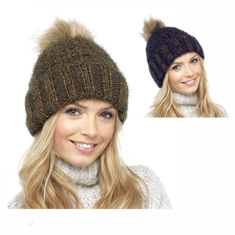 Foxbury Ladies Knitted Slouch Beanie Bobble Hat with Faux Fur Pom Pom One Size