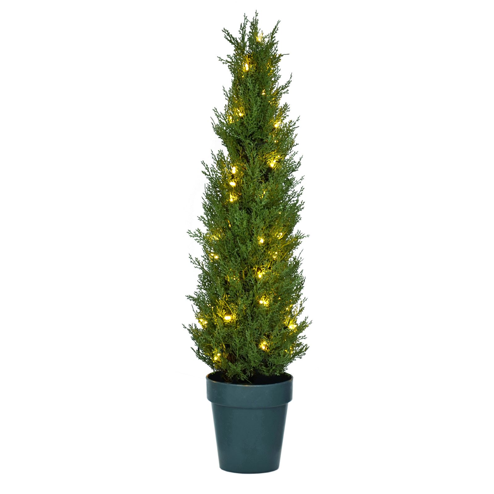Details About New Potted 3ft Pre Lit Mini Spruce Xmas Tree Indoor Outdoor Use White Led Lights