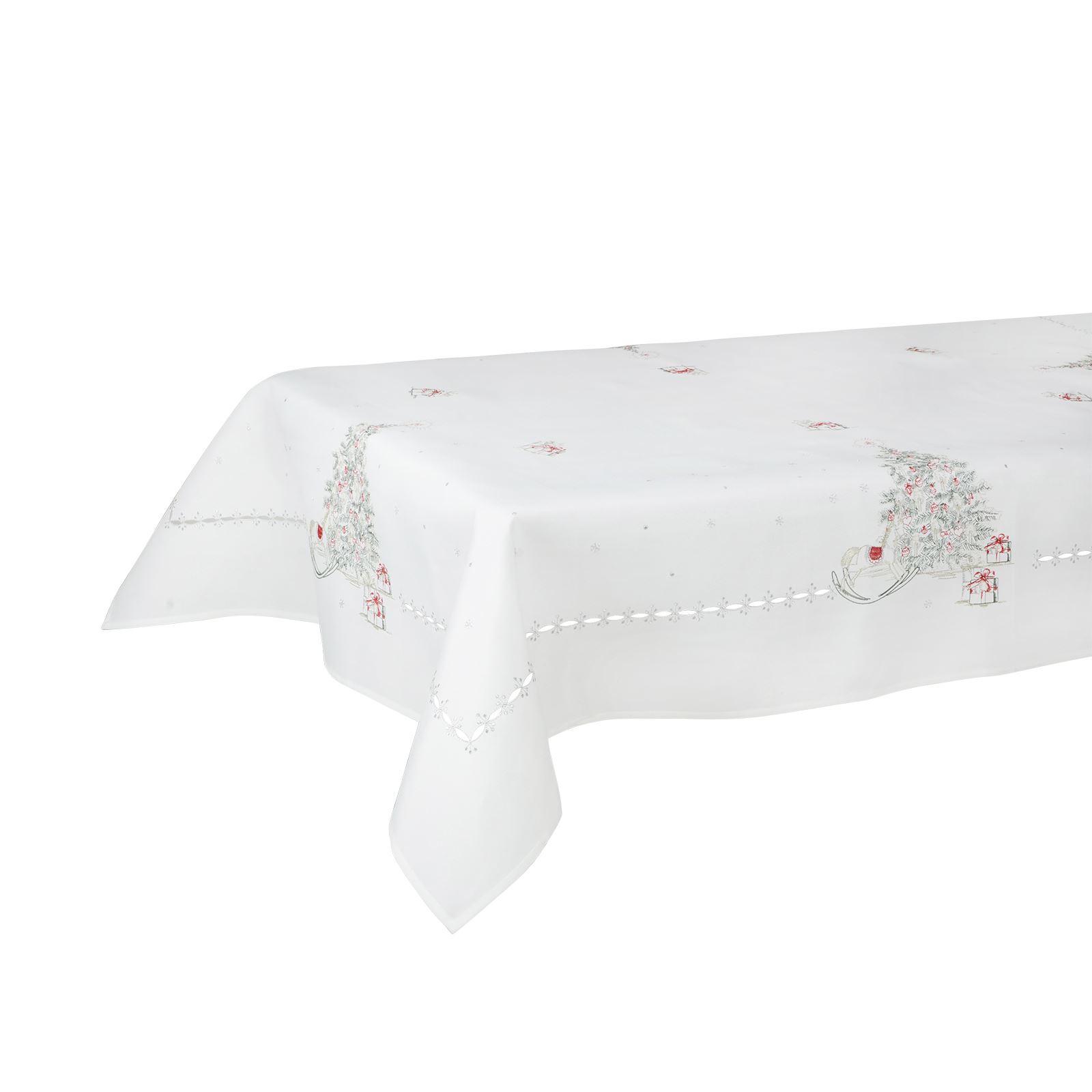 Christmas-Tablecloth-Festive-Pattern-Rectangle-Round-Fabric-Xmas-Room-Decoration Indexbild 142