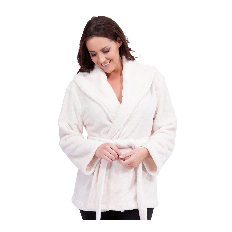 Ladies Mini Wrap Shawl Collar Bath Robe House Coat Dressing Gown ...
