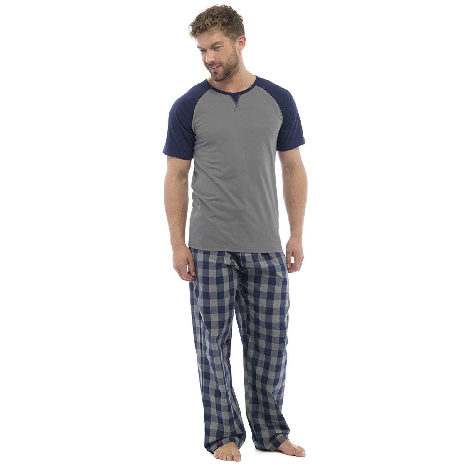 Foxbury Mens 2 Piece Pyjama Set Cotton Rich T-shirt Checked Bottoms ... 06d9d792a