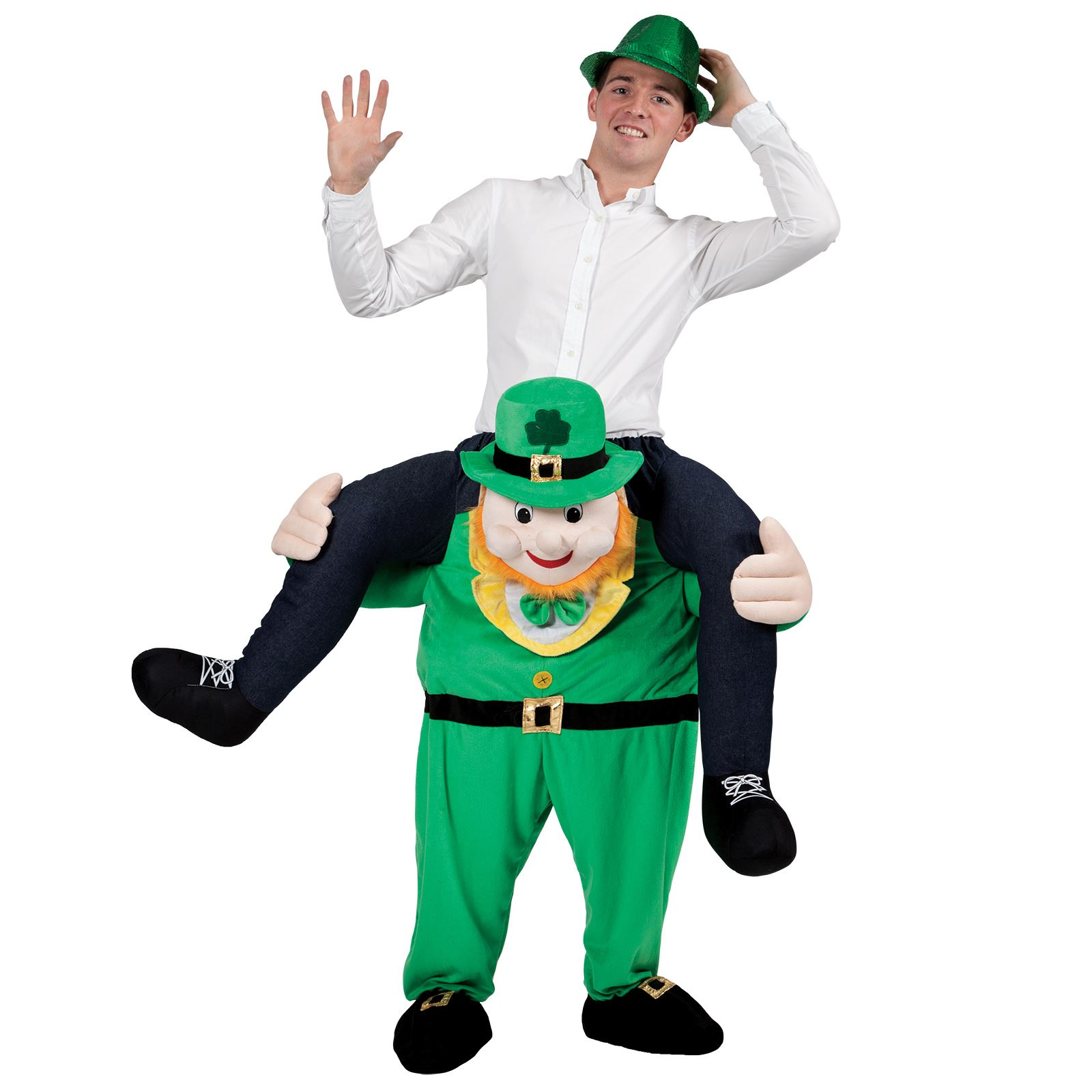 Child Funny Carry Me Leprechaun St Patricks Day Irish Fancy Dress Mascot Costume